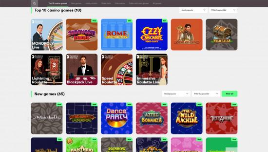 10bet Casino desktop screenshot-1