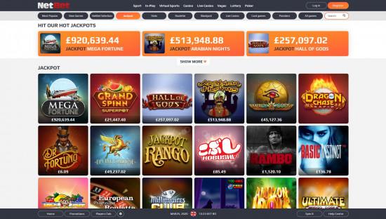 NetBet Casino desktop screenshot-1