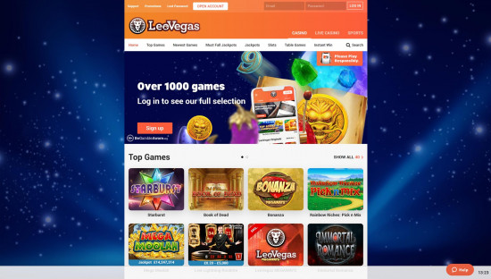 LeoVegas Casino desktop screenshot-1
