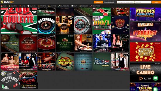 Quinnbet Casino desktop screenshot-1