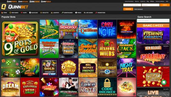Quinnbet Casino desktop screenshot-4
