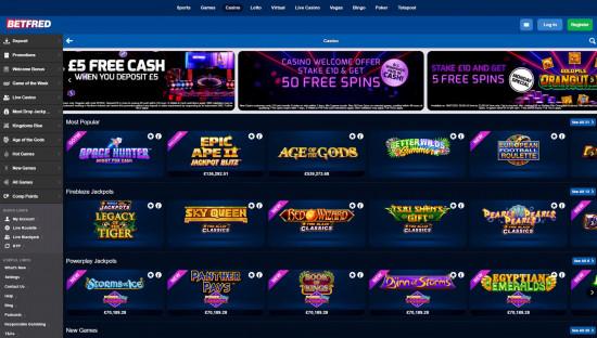 Betfred Casino desktop screenshot-1
