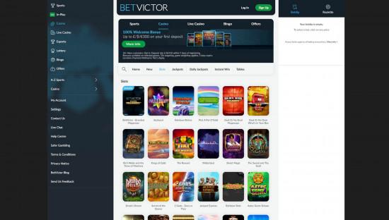 BetVictor Casino desktop screenshot-1