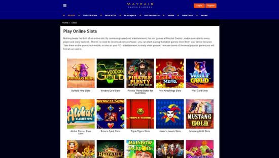 Mayfair Casino desktop screenshot-1