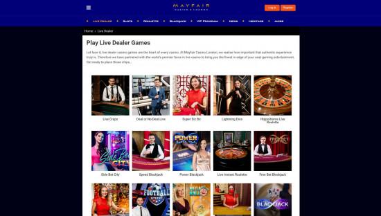 Mayfair Casino desktop screenshot-2