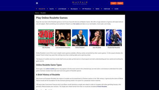 Mayfair Casino desktop screenshot-4